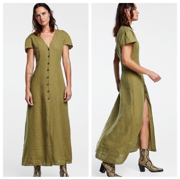 d3983ba0 Zara Dresses   Nwot Green Long Linen Dress Size M   Poshmark